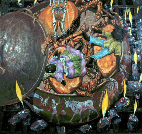 """Crabs in a Pot"" oil on caves 60 X 64"" 1996"