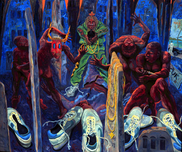"""Tombstones"" oil on canvas 62 X 72"" 1991"