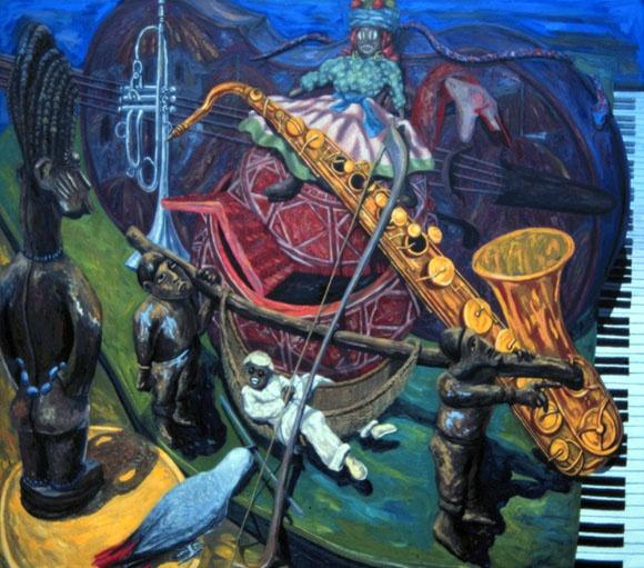 """""""A Night in Tunisia"""" oil on canvas 60 X 68"""" 1991"""